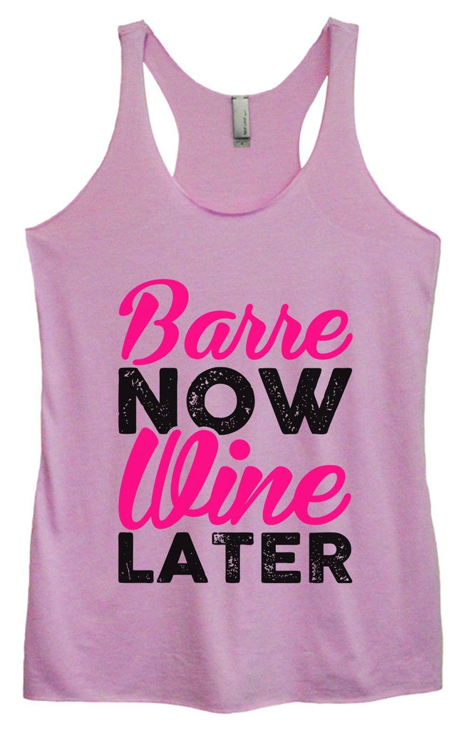 Womens Tri-Blend Tank Top - Barre Now Wine Later Funny Shirt Small / Vintage Lilac