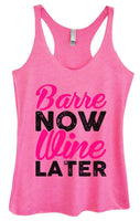 Womens Tri-Blend Tank Top - Barre Now Wine Later Funny Shirt Small / Vintage Pink