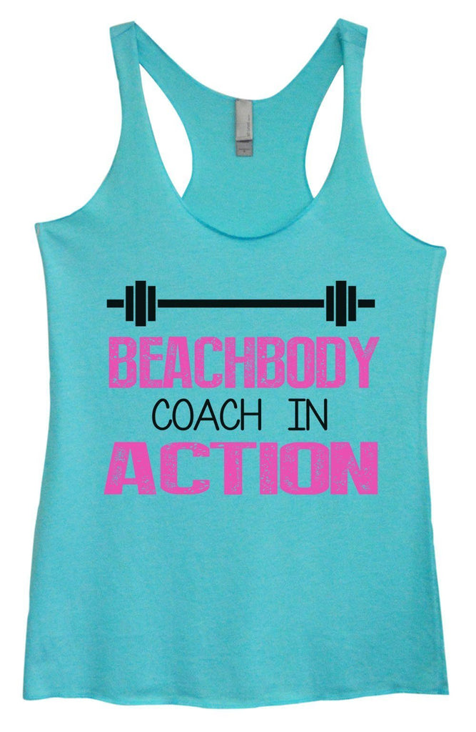 Womens Tri-Blend Tank Top - Beachbody Coach In Action Funny Shirt Small / Vintage Blue