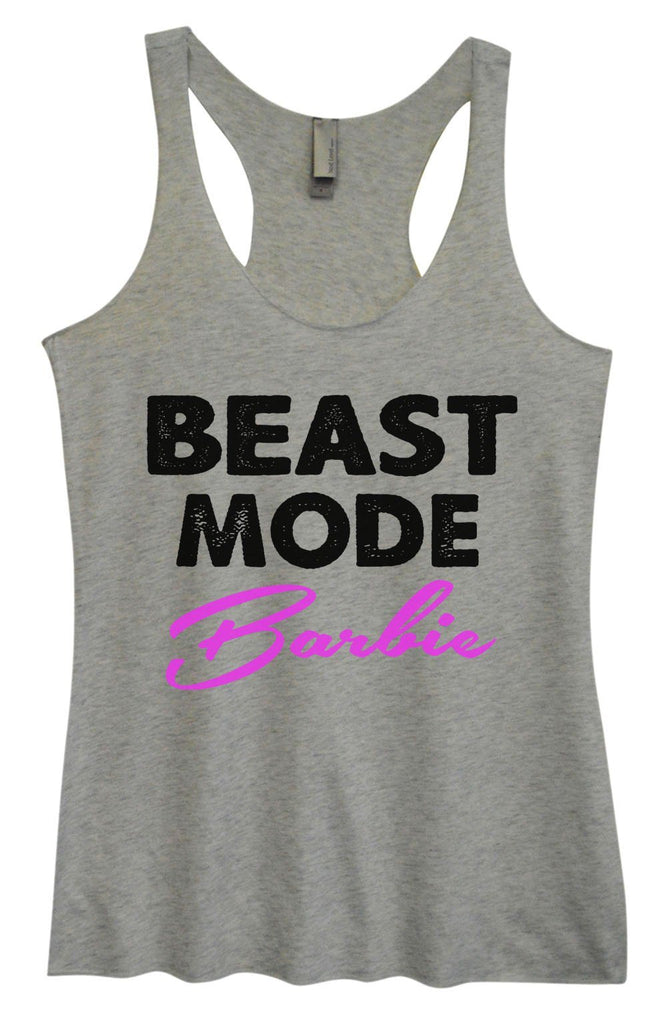 Womens Tri-Blend Tank Top - Beast Mode Barbie Funny Shirt Small / Vintage Grey