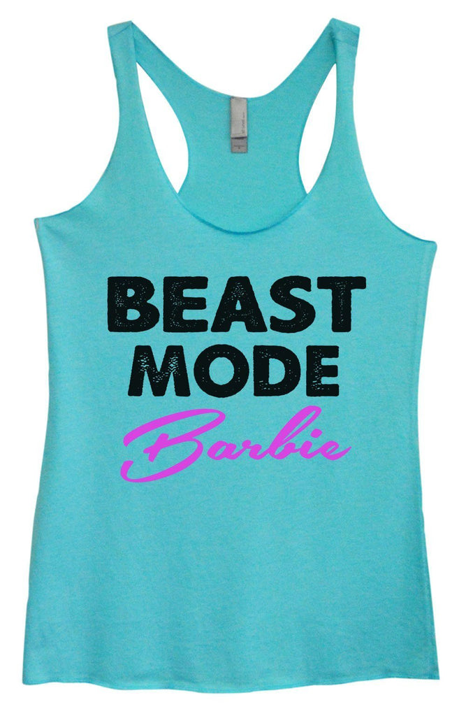 Womens Tri-Blend Tank Top - Beast Mode Barbie Funny Shirt Small / Vintage Blue