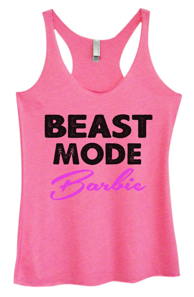 Womens Tri-Blend Tank Top - Beast Mode Barbie Funny Shirt Small / Vintage Pink