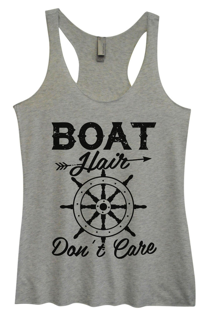 Womens Tri-Blend Tank Top - Boat Hair Don't Care Funny Shirt Small / Vintage Grey