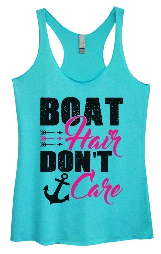 Womens Tri-Blend Tank Top - Boat Hair Don't Care Funny Shirt Small / Vintage Blue