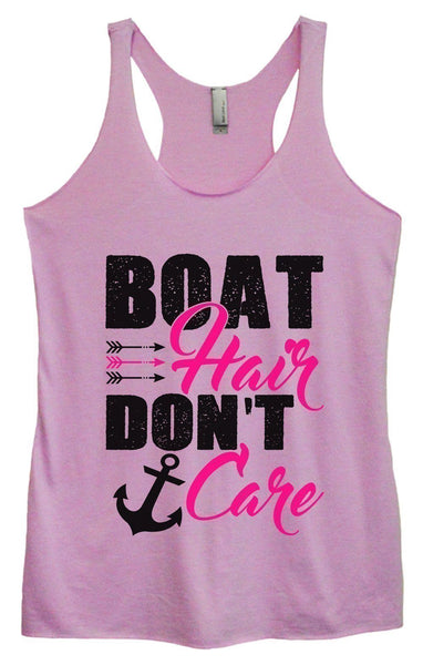 Womens Tri-Blend Tank Top - Boat Hair Don't Care Funny Shirt Small / Vintage Lilac