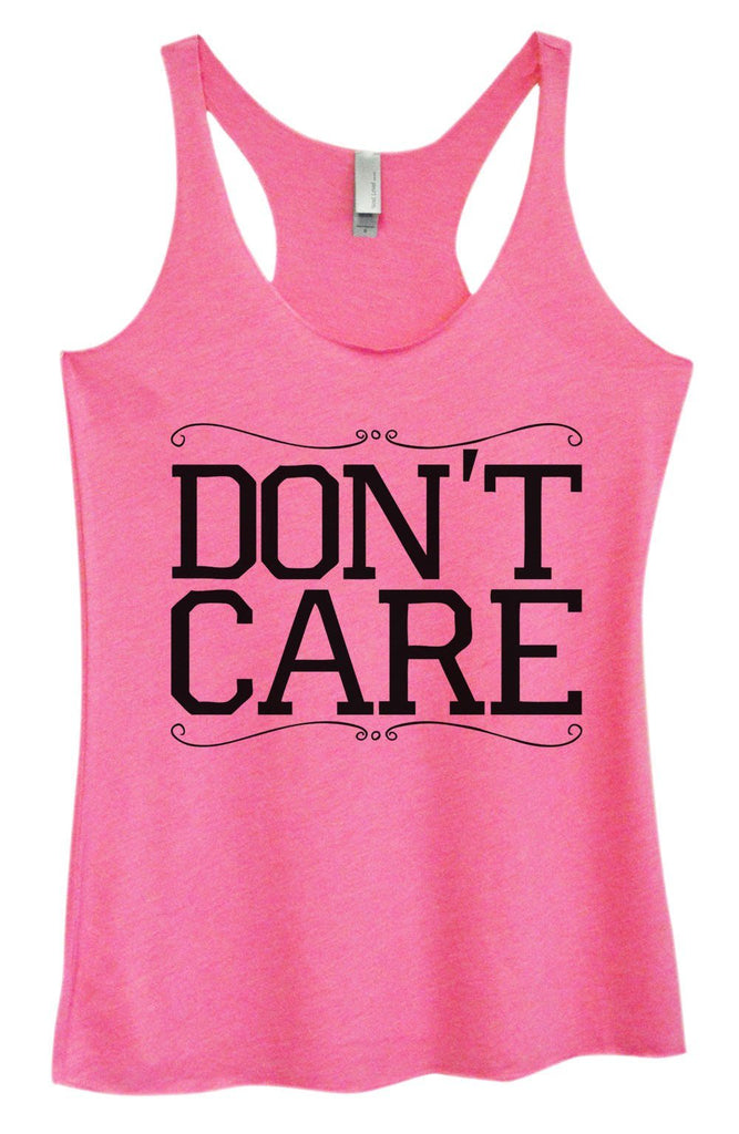 Womens Tri-Blend Tank Top - Don't Care Funny Shirt Small / Vintage Pink