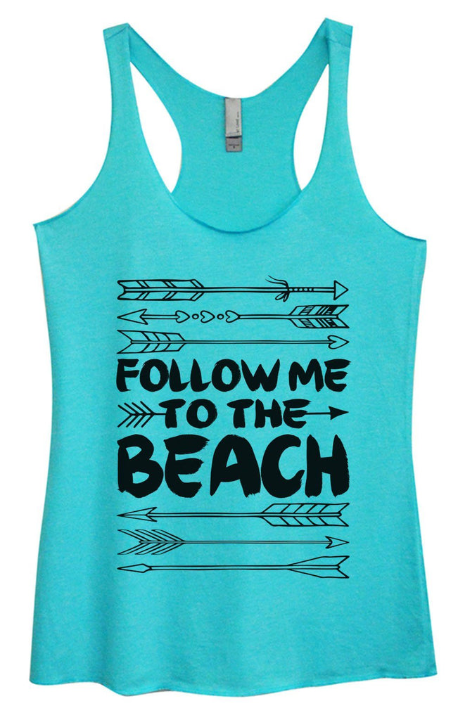 Womens Tri-Blend Tank Top - Follow Me To The Beach Funny Shirt Small / Vintage Blue