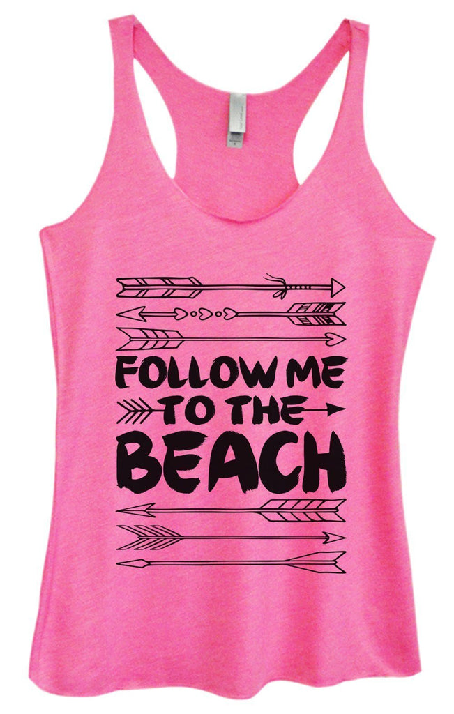 Womens Tri-Blend Tank Top - Follow Me To The Beach Funny Shirt Small / Vintage Pink