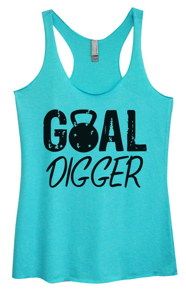 Womens Tri-Blend Tank Top - Goal Digger Funny Shirt Small / Vintage Blue