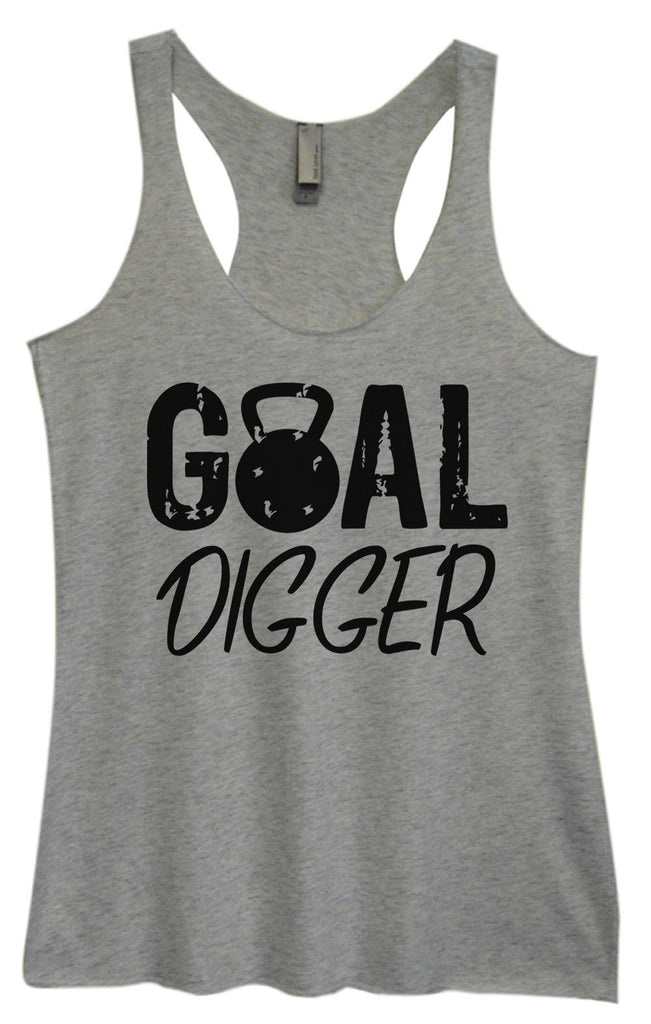 Womens Tri-Blend Tank Top - Goal Digger Funny Shirt Small / Vintage Grey