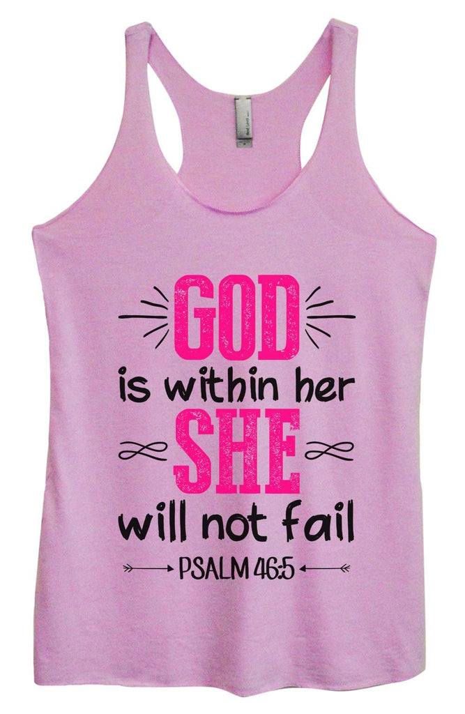 Womens Tri-Blend Tank Top - God Is Within Her She Will Not Fail Psalm 46:5 Funny Shirt Small / Vintage Lilac