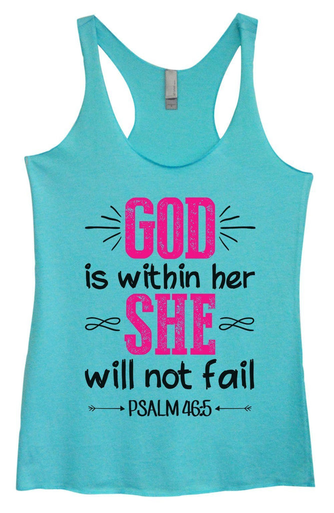 Womens Tri-Blend Tank Top - God Is Within Her She Will Not Fail Psalm 46:5 Funny Shirt Small / Vintage Blue