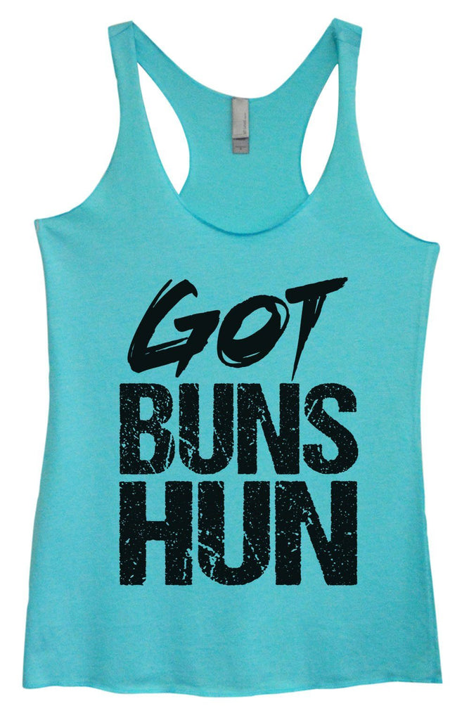 Womens Tri-Blend Tank Top - Got Buns Hun Funny Shirt Small / Vintage Blue