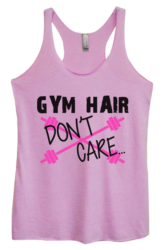 Womens Tri-Blend Tank Top - Gym Hair Don't Care Funny Shirt Small / Vintage Lilac