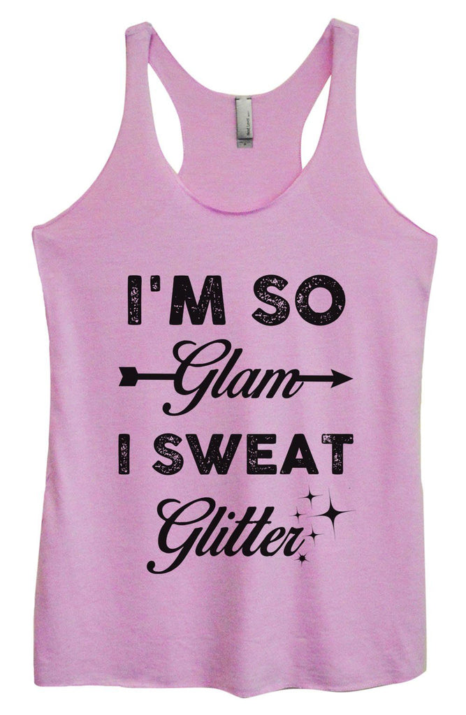 Womens Tri-Blend Tank Top - I'm So Glam I Sweat Glitter Funny Shirt Small / Vintage Lilac
