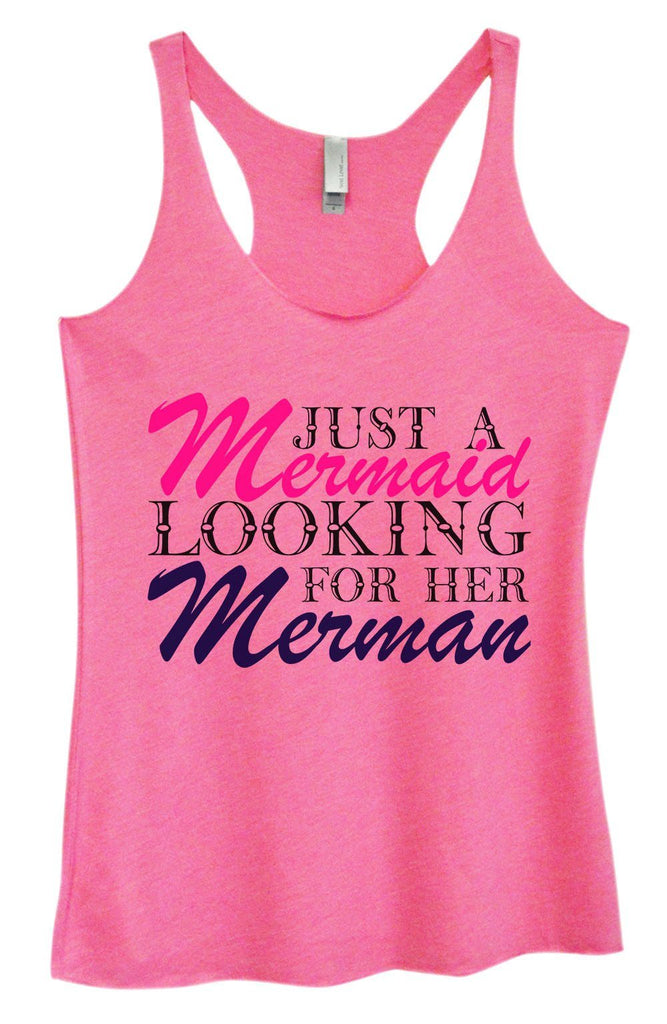 Womens Tri-Blend Tank Top - Just A Mermaid Looking For Her Merman Funny Shirt Small / Vintage Pink