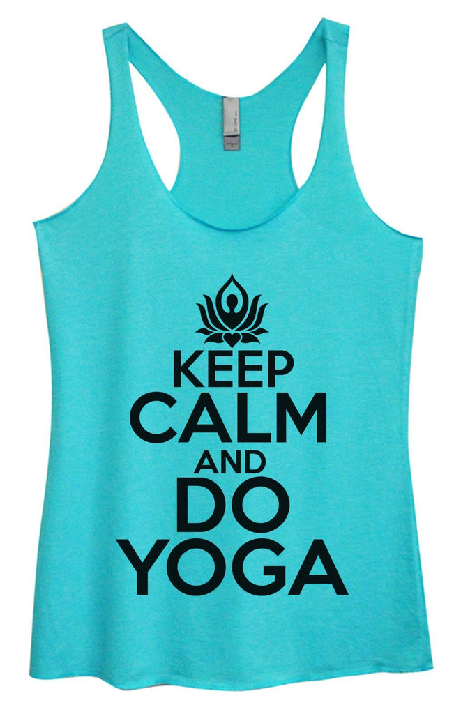 Womens Tri-Blend Tank Top - Keep Calm And Do Yoga Funny Shirt Small / Vintage Blue