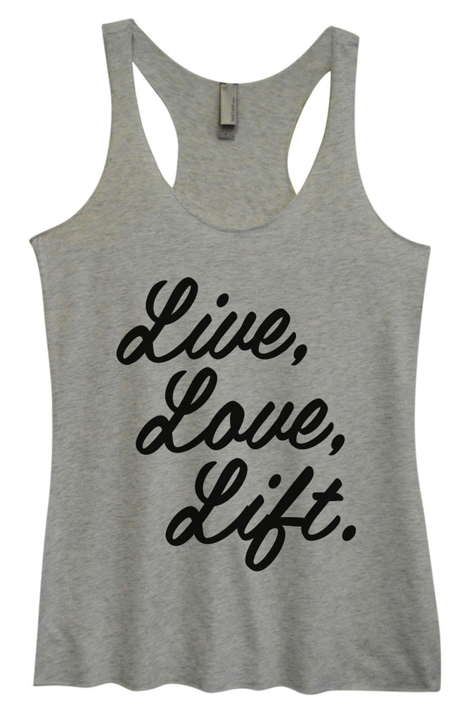 Womens Tri-Blend Tank Top - Live, Love, Life. Funny Shirt Small / Vintage Grey