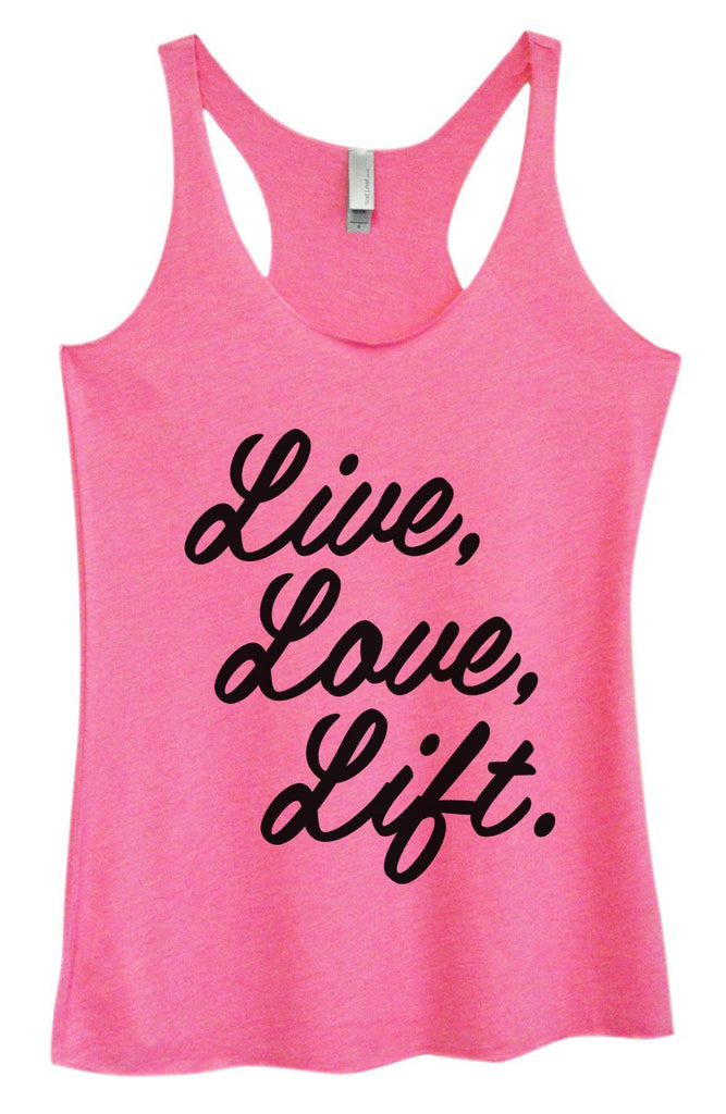 Womens Tri-Blend Tank Top - Live, Love, Life. Funny Shirt Small / Vintage Pink
