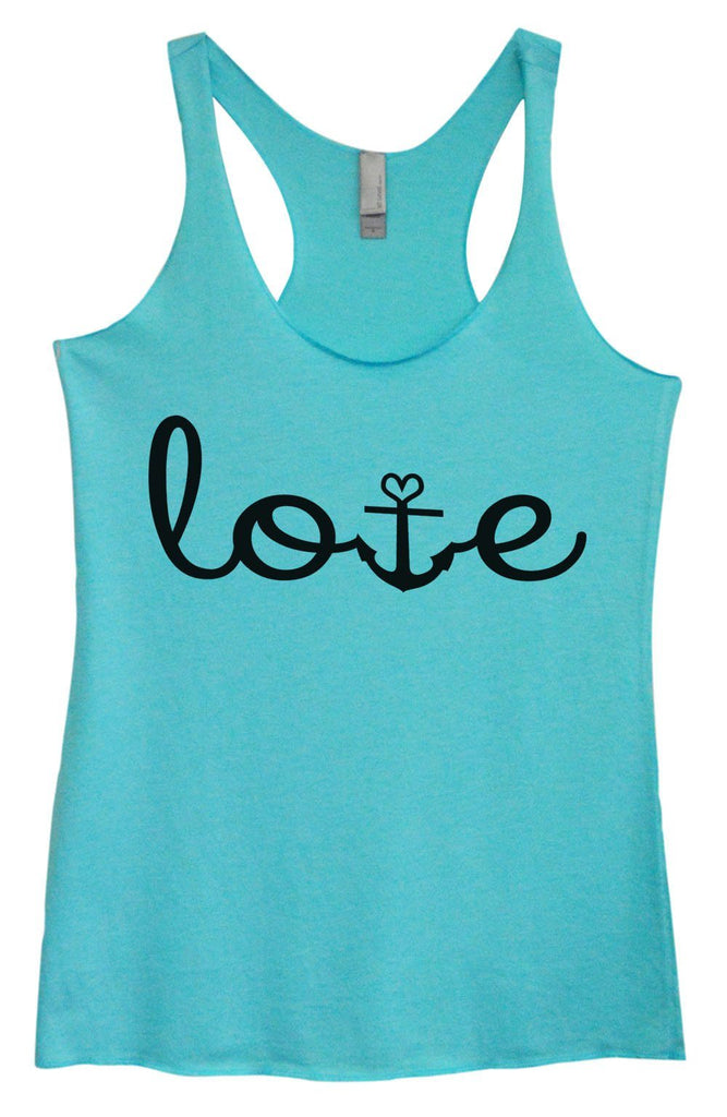 Womens Tri-Blend Tank Top - Love Funny Shirt Small / Vintage Blue