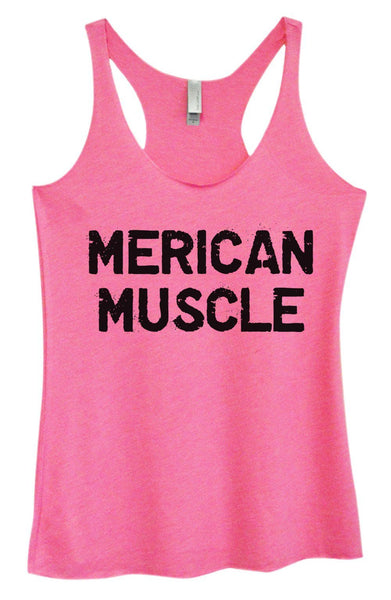 Womens Tri-Blend Tank Top - Merican Muscle Funny Shirt Small / Vintage Pink