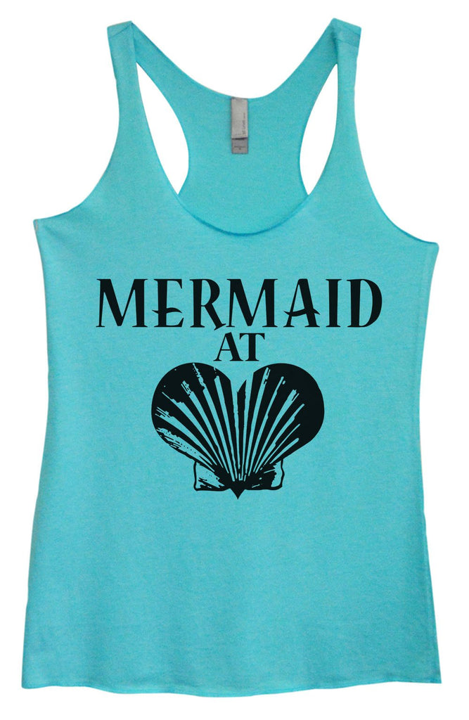 Womens Tri-Blend Tank Top - Mermaid At Heart Funny Shirt Small / Vintage Blue