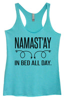 Womens Tri-Blend Tank Top - Namastay In Bed All Day Funny Shirt Small / Vintage Blue