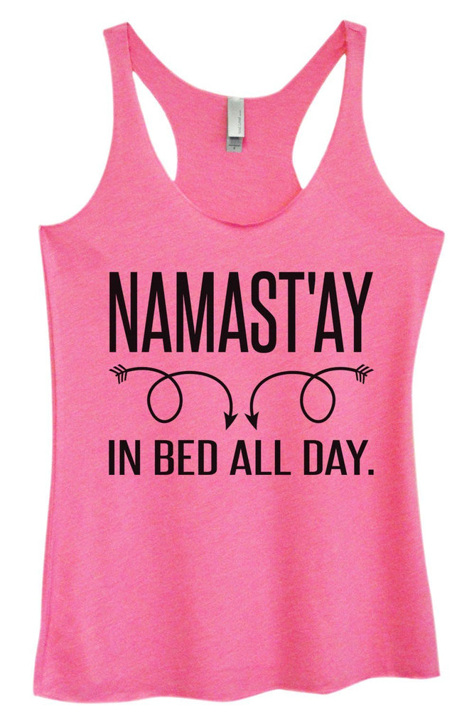Womens Tri-Blend Tank Top - Namastay In Bed All Day Funny Shirt Small / Vintage Pink