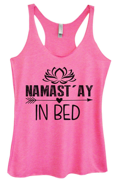 Womens Tri-Blend Tank Top - Namastay In Bed Funny Shirt Small / Vintage Pink