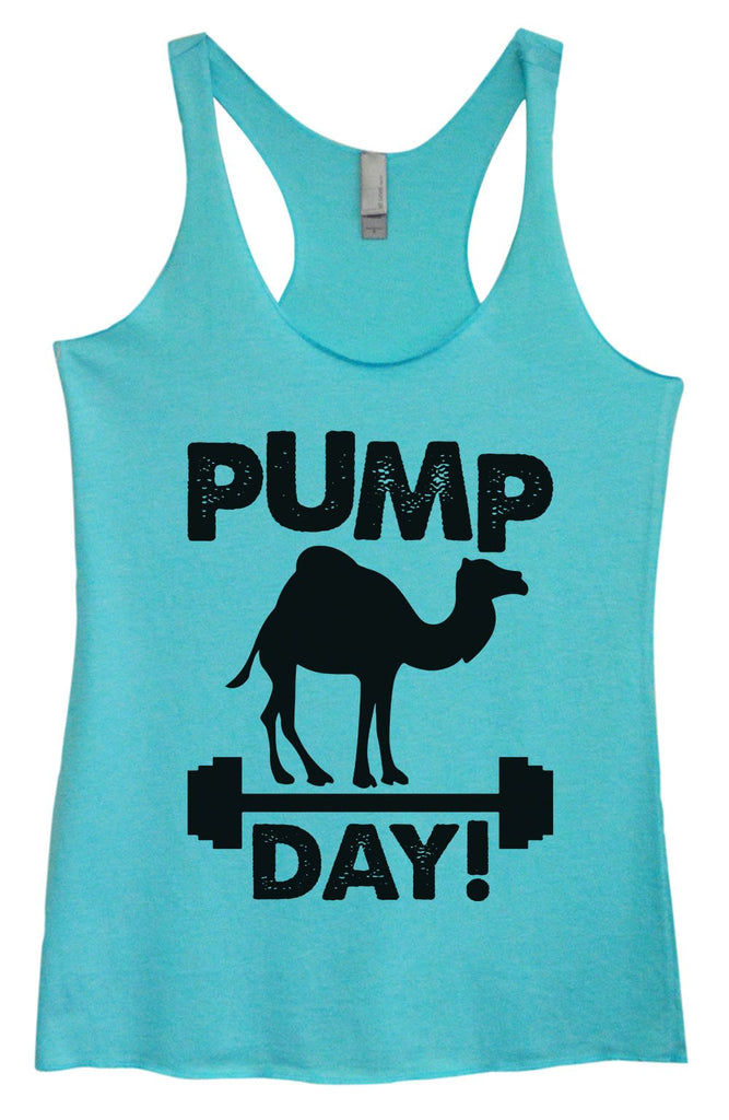 Womens Tri-Blend Tank Top - Pump Day Funny Shirt Small / Vintage Blue