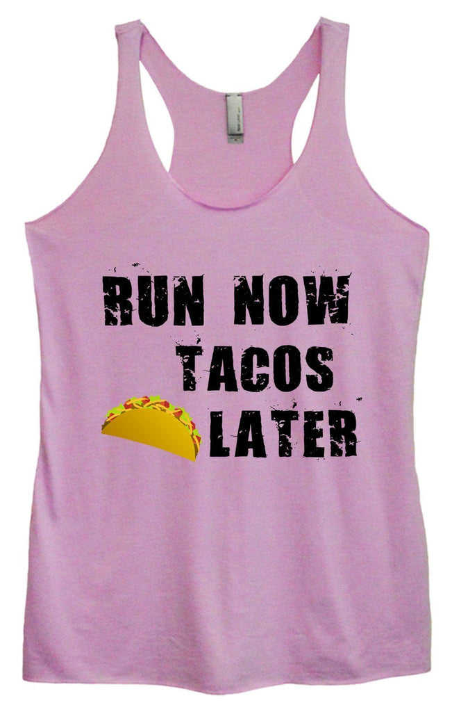 Womens Tri-Blend Tank Top - Run Now Tacos Later Funny Shirt Small / Vintage Lilac