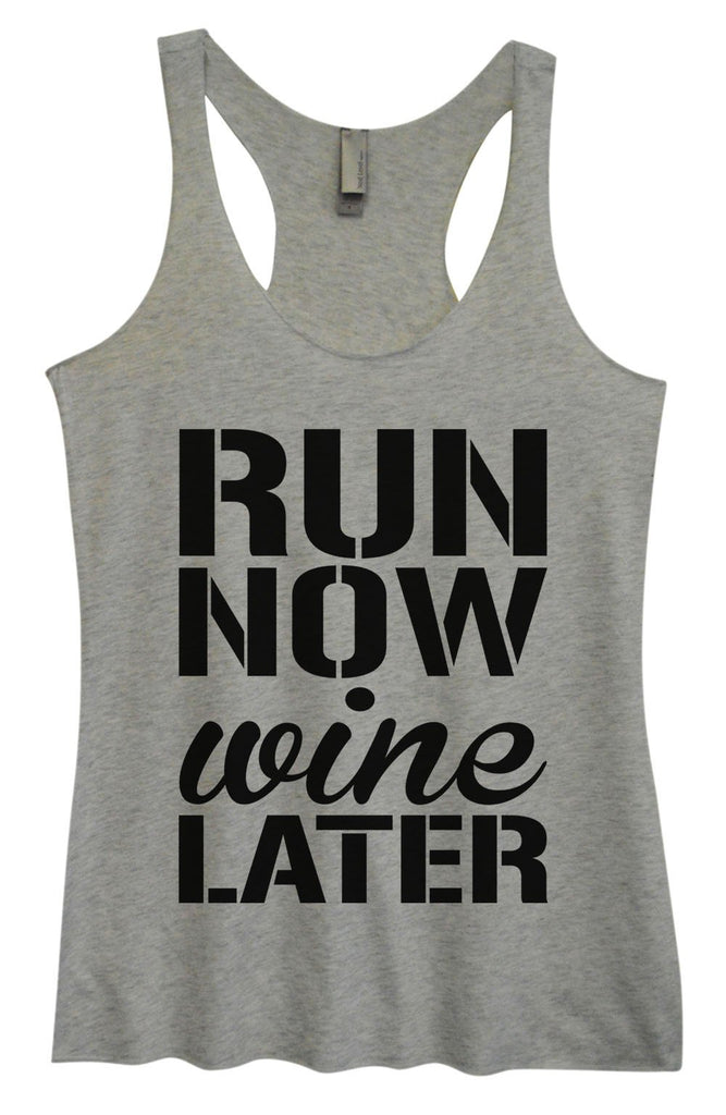 Womens Tri-Blend Tank Top - Run Now Wine Later Funny Shirt Small / Vintage Grey