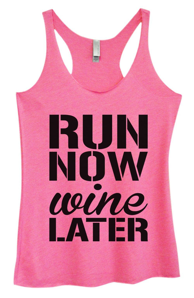 Womens Tri-Blend Tank Top - Run Now Wine Later Funny Shirt Small / Vintage Pink