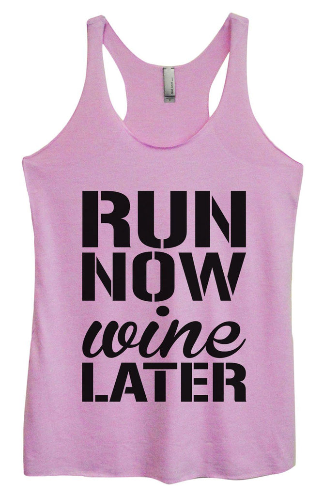 Womens Tri-Blend Tank Top - Run Now Wine Later Funny Shirt Small / Vintage Lilac