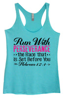 Womens Tri-Blend Tank Top - Run With Perseverance The Race That Is Set Before You Hebrews 12:1 Funny Shirt Small / Vintage Blue