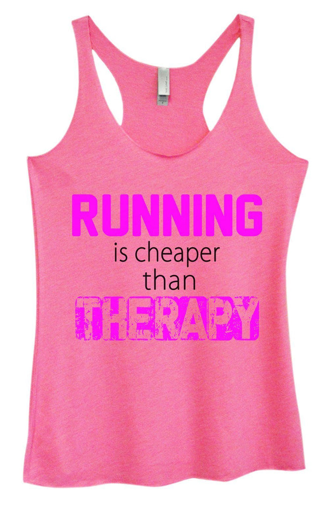 Womens Tri-Blend Tank Top - Running Is Cheaper Than Therapy Funny Shirt Small / Vintage Pink