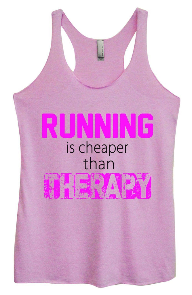 Womens Tri-Blend Tank Top - Running Is Cheaper Than Therapy Funny Shirt Small / Vintage Lilac