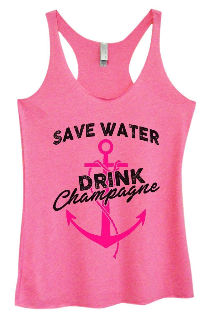 Womens Tri-Blend Tank Top - Save Water Drink Champagne Funny Shirt Small / Vintage Pink