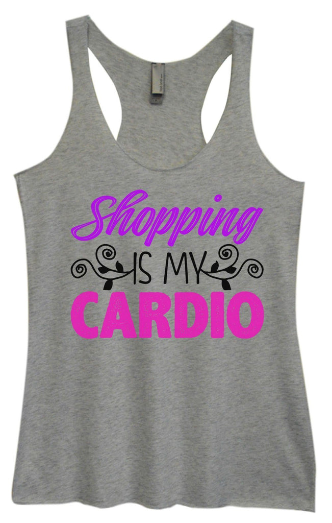 Womens Tri-Blend Tank Top - Shopping Is My Cardio Funny Shirt Small / Vintage Grey