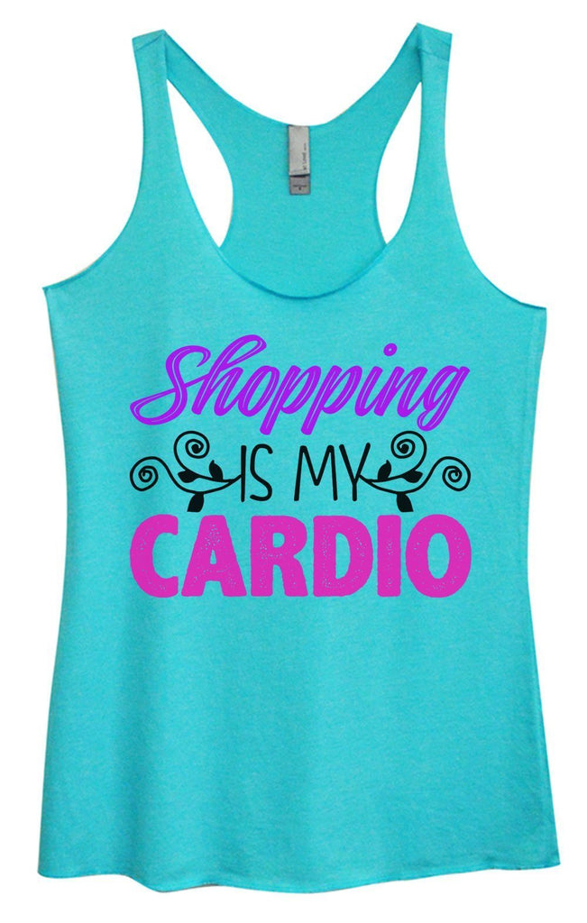 Womens Tri-Blend Tank Top - Shopping Is My Cardio Funny Shirt Small / Vintage Blue