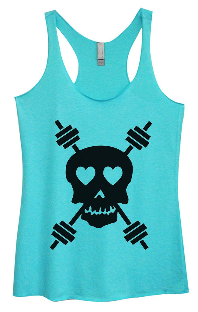 Womens Tri-Blend Tank Top - Skull Funny Shirt Small / Vintage Blue