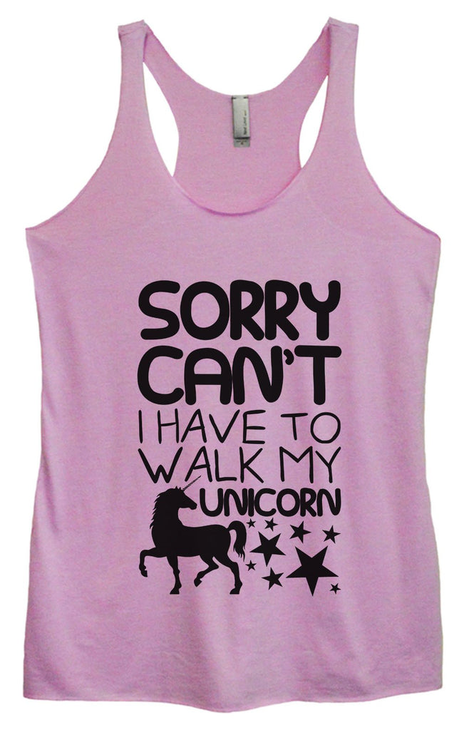 Womens Tri-Blend Tank Top - Sorry Can't I Have To Walk My Unicorn Funny Shirt Small / Vintage Lilac