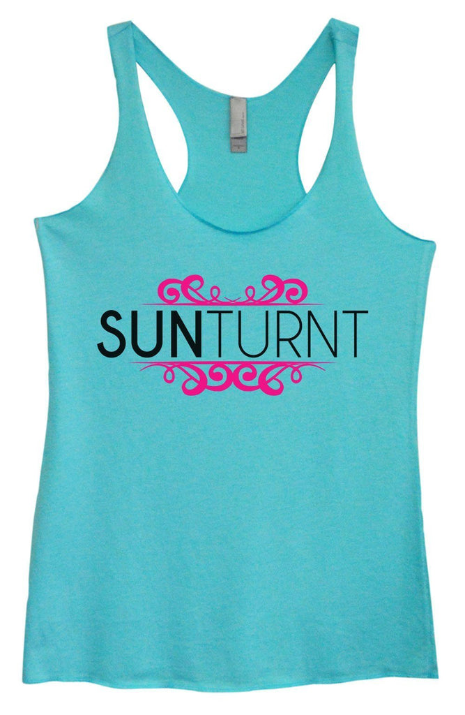 Womens Tri-Blend Tank Top - Sunturnt Funny Shirt Small / Vintage Blue