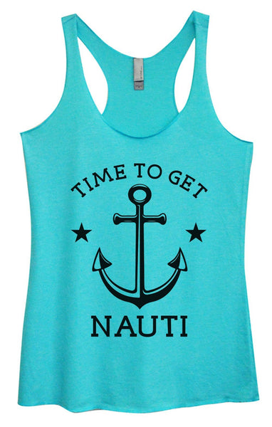 Womens Tri-Blend Tank Top - Time To Get Nauti Funny Shirt Small / Vintage Blue