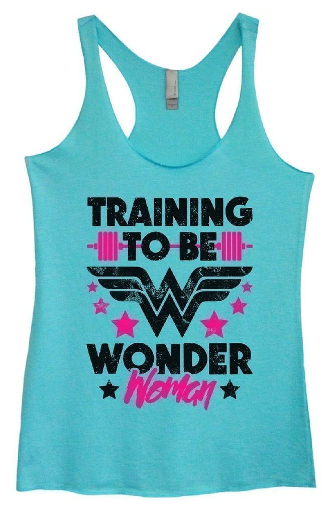 Womens Tri-Blend Tank Top - TRAINING TO BE WONDER Woman Funny Shirt Small / Vintage Blue
