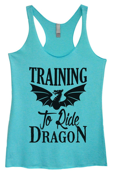 Womens Tri-Blend Tank Top - Training To Ride Dragon Funny Shirt Small / Vintage Blue