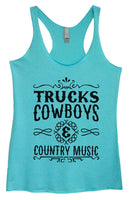 Womens Tri-Blend Tank Top - Trucks Cowboys & Country Music Funny Shirt Small / Vintage Blue