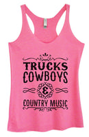Womens Tri-Blend Tank Top - Trucks Cowboys & Country Music Funny Shirt Small / Vintage Pink