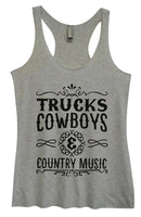Womens Tri-Blend Tank Top - Trucks Cowboys & Country Music Funny Shirt Small / Vintage Grey