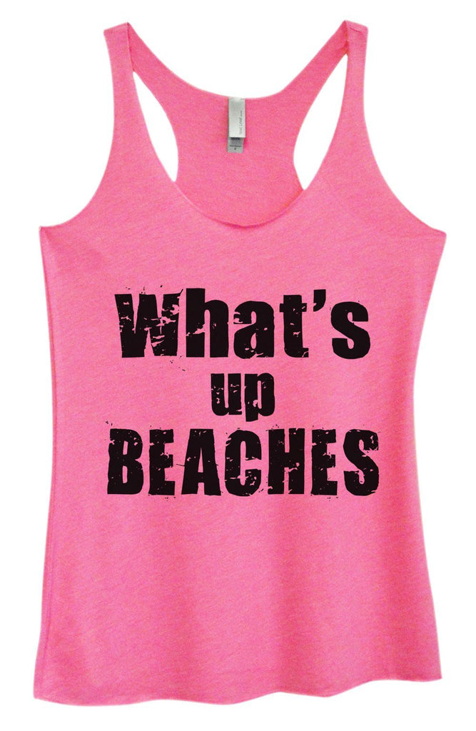 Womens Tri-Blend Tank Top - What's Up Beaches Funny Shirt Small / Vintage Pink